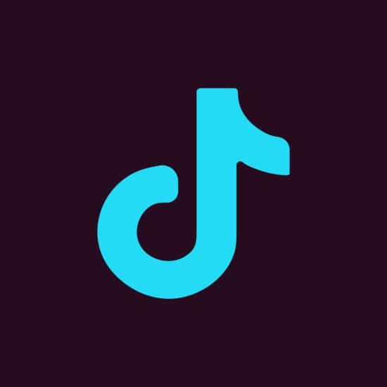 Blaues TikTok-Logo auf schwarzem Grund