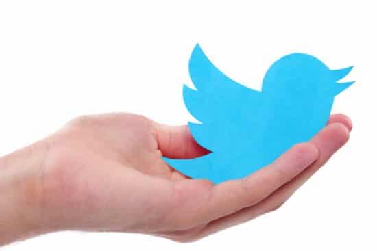 Symbolbild: Eine Hand hält das Twitter-Logo