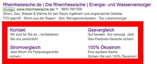 Foto: Google AdWords: Sitelink-Erweiterungen