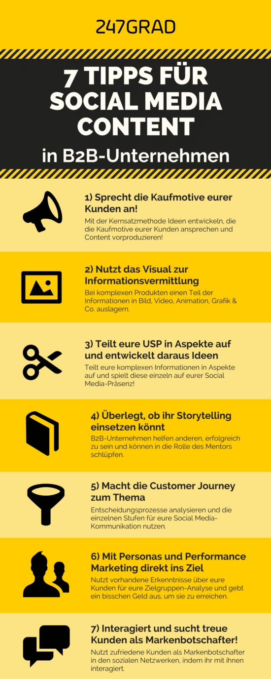 Infografik mit 7 Tipps für B2B Social Media Content