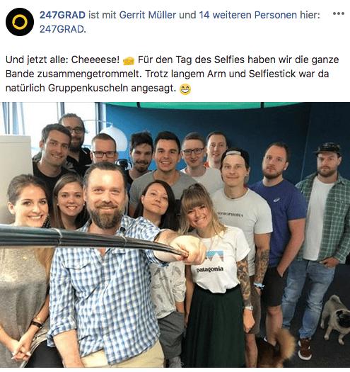 Social Media Content von 247GRAD: Tag des Selfies