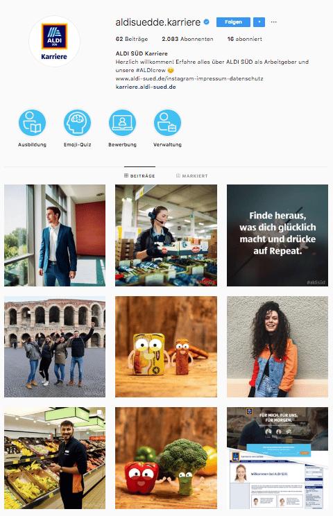 Der Feed im Karrierekanal von Aldi Süd zeigt die ersten Beiträge der Instagramseite.