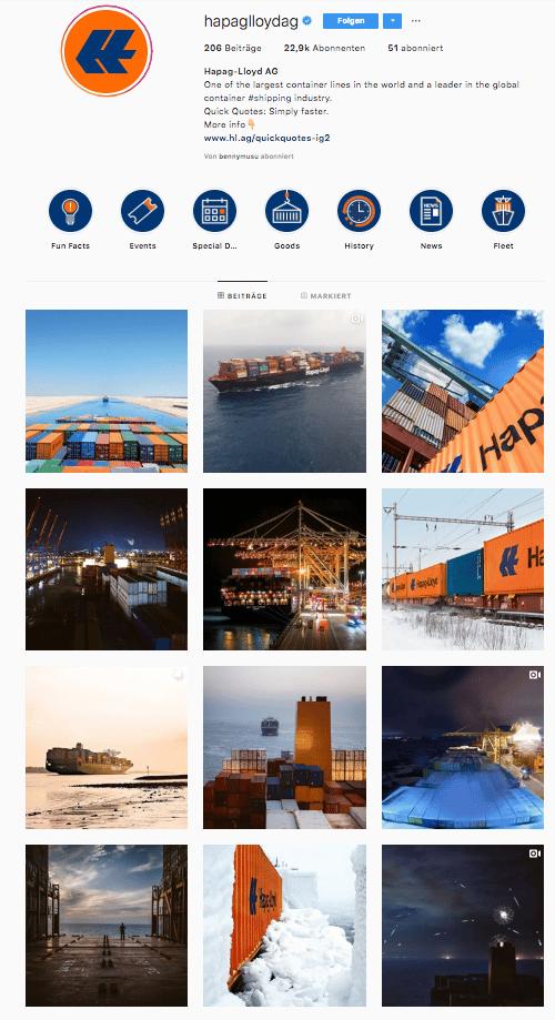 Im Instagram-Stream von Hapag-Lloyd ist klar die ästhetische Linie zu erkennen. Spannende Perspektiven und die Farbe Orange sorgen für Wiedererkennung im B2B.