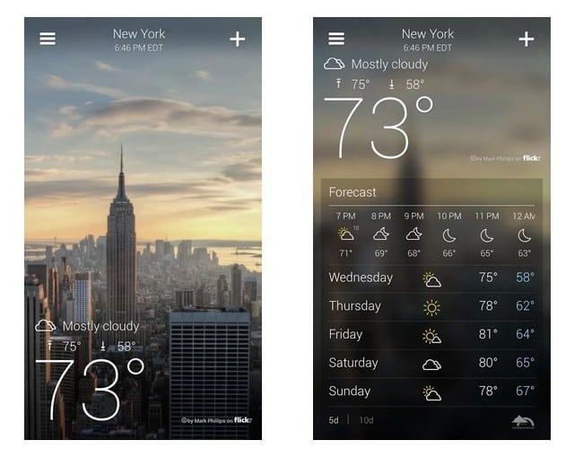 Bild: User Interface einer Wetter-App