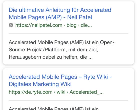 So erkennt ihr Seiten, die AMP nutzen: Eine Google-Übersicht mit Blitz-Symbol