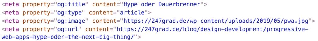 Open Graph Metatags im Kopfteil eines HTML-Codes