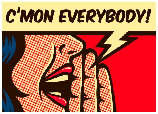 """Eine Pop-Art-Grafik, in der eine Frau """"Cmon Everybody"""" ruft, was ein Sinnbild für mehr Interaktion auf Facebook ist"""