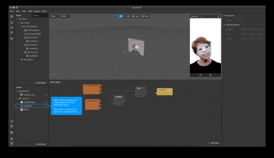 Screenshot: Spark AR Studio im Einsatz