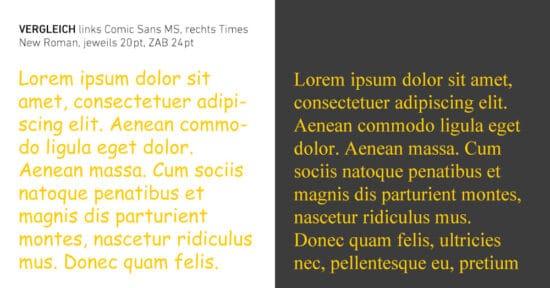 Vergleich Comic Sans und Times New Roman