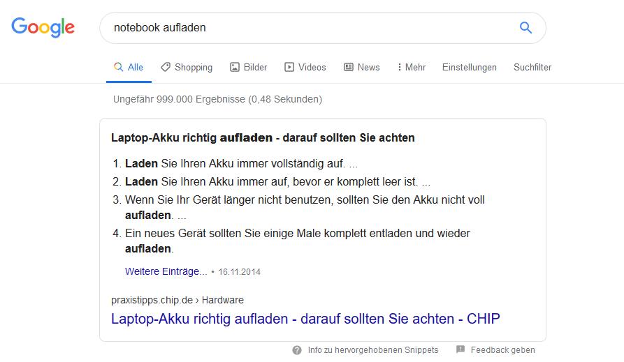 """Featured Snippet bei einer Google-Suche nach """"Notebook aufladen"""""""
