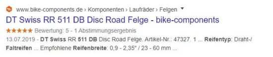 """Abbildung: Suchanfrage auf """"Welche Reifen passen auf die """"dt swiss 511db?"""""""