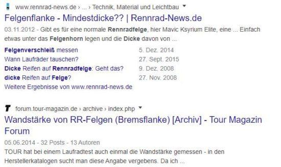 """Abbildung: So fällt das Suchergebnis auf """"Dicke Rennrad Felge"""" aus."""