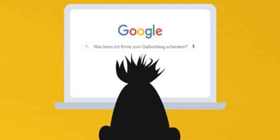 Abbildung: Bert googelt und sucht Geschenkidee