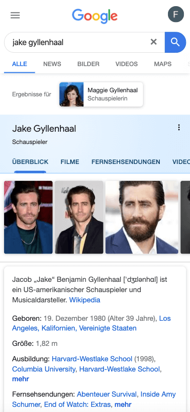 Abbildung: Googles Knowledge Graph gibt Informationen über Jake Gyllenhal