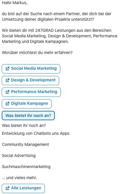 Abbildung: Beispiel einer Conversation Ad bei LinkedIn