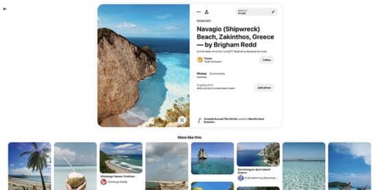 """Abbildung: Suchergebnis auf Pinterest zum Thema """"Strand"""""""