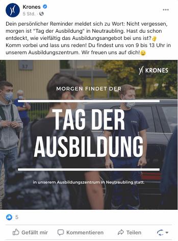 Abbildung: Ein Facebook-Post der Krone AG