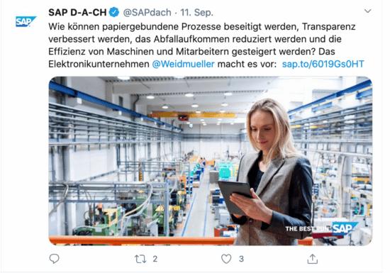 Abbildung: Beispiel für Social-Media-Marketing im B2B, Use Case von SAP auf Twitter
