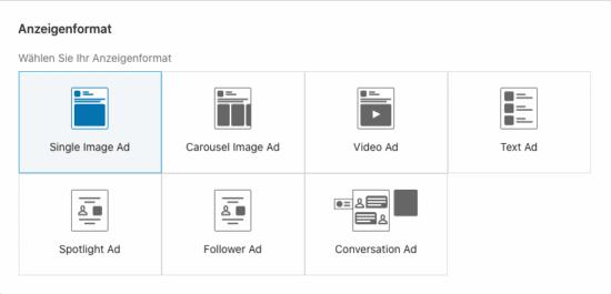 Abbildung: Grafik zeigt aktuelle Ad-Formate auf LinkedIn (Stand November 2020)
