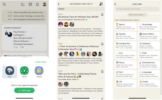 Abbildung: Screenshots Räumen, Clubs und Interessen in der App Clubhouse