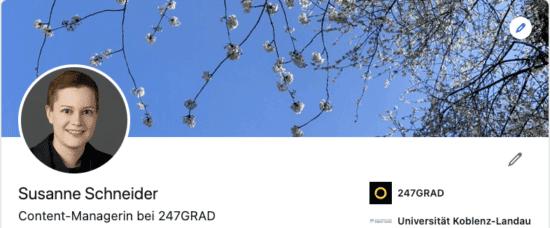 Abbildung: Screenshot eines LinkedIn Personenprofils mit Headerbild