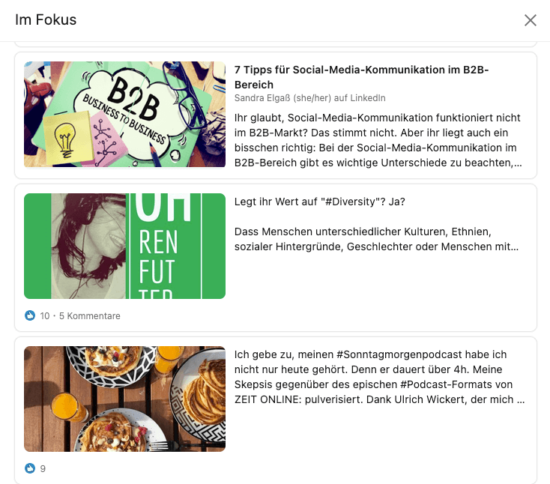 "Abbildung: Screenshot der Rubrik ""Im Fokus"" in einem LinkedIn Personenprofil"
