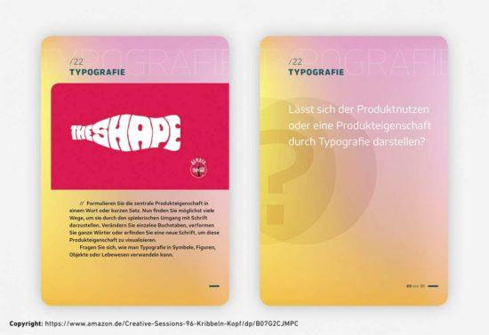 Abbildung zu Kreativität fördern: Screenshot des Kartenspiels Creative Sessions