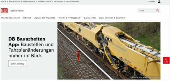 Abbildung: Der Blog der Deutschen Bahn als Beispiel für einen Corporate Blog.