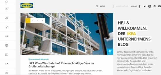 Abbildung: Der Blog des Unternehmens IKEA als Beispiel für einen Corporate Blog.