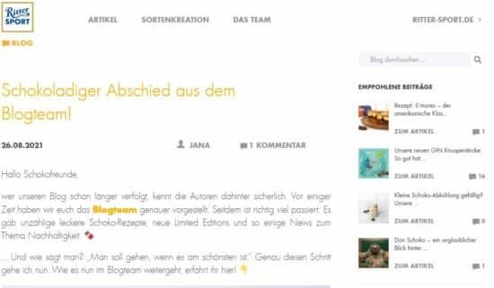 Abbildung: Der Blog des Unternehmens Ritter Sport als Beispiel für einen gelungenen Corporate Blog