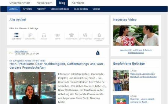 Abbildung: Der Blog des Unternehmens Tchibo als Beispiel für einen Corporate Blog